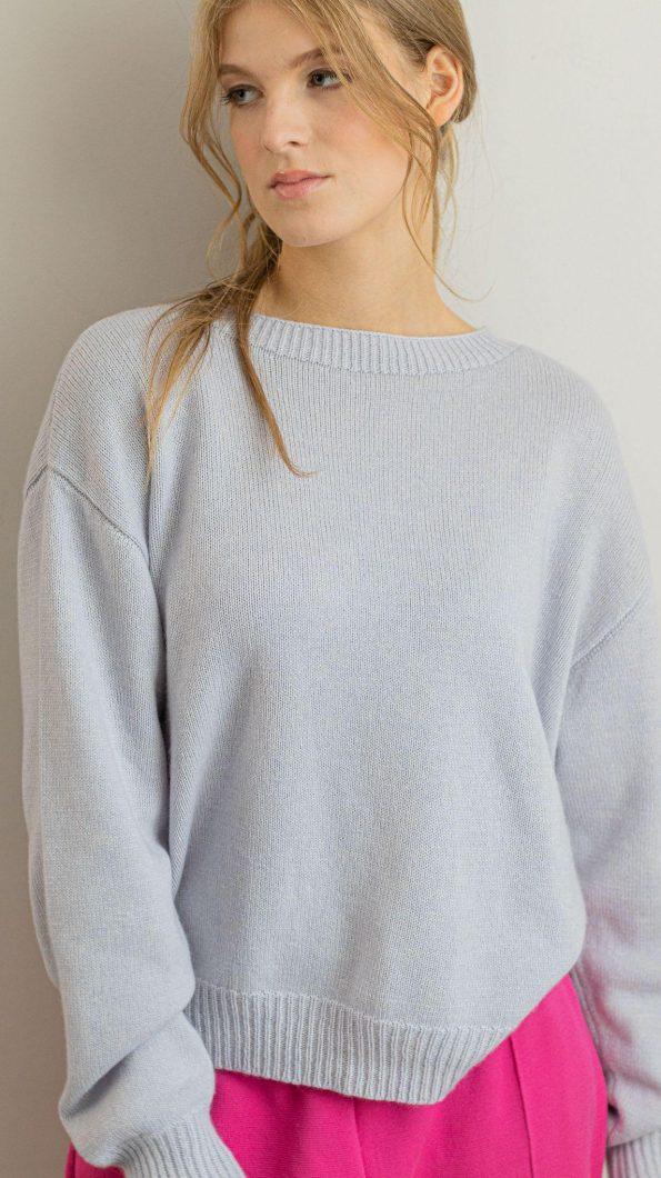 Crew neck cashmere silk blend sweater FRIDA BLUE